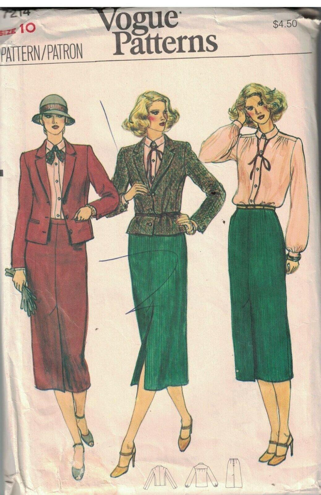 7214 Uncut Vogue Nähmuster Misses Semi Enganliegend Jacke Rock Bluse Oop 1980s