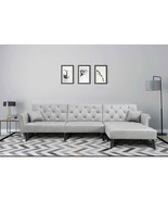 """Grey 115"""" Folding Sofa Bed Polyester Microfiber Bed Couch Tatami Bedroom... - $692.01"""
