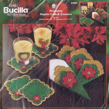 Bucilla 84983 POINSETTIA NAPKIN CUFFS AND COASTERS Felt Home Décor Kit - $15.00