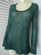 Ann Taylor Loft Sz M Sweater Pullover Long Corchet See Thru Alpaca Wool - $49.47