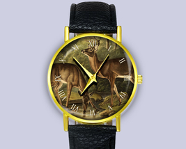 Vintage Art Deers Watch Lake Scene Drinking Water Ladies Watch Men's Wat... - $10.00