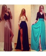 Sweet High Slit Lace Top Maxi Dress - $26.32