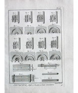 KEYS Types & Fittings - 1783 Antique Print Copperplate Engraving - $9.94