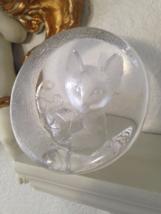 Mats Jonasson Sweden Paperweight Crystal Glass Frosted Art Kitty Cat Bal... - $40.00
