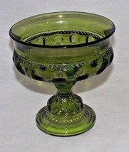 Green Indiana Glass Candy Dish Thumbprint Kings Crown Replacement Footed Vtg - $24.74