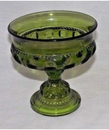 Green Indiana Glass Candy Dish Thumbprint Kings Crown Replacement Footed... - $24.74