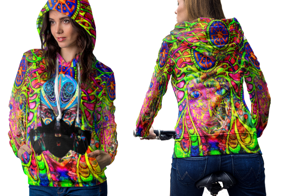 Psychedelic geisha face trippy tongue dmt hoodie women