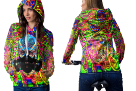 Psychedelic Geisha Face Trippy Tongue DMT Hoodie Women - $44.99