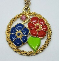 Vintage Red Blue Flower Enamel Gold Round Colorful Pendant Necklace 1970s - $12.00