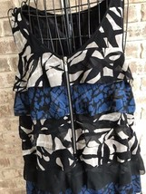 Kensie Sz L Baby Doll Dress Sleeveless Flapper Lined Black White Blue NWOT Party - $35.88