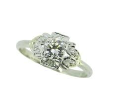 Antique Platinum 1/2 Carat Genuine Natural Diamond Ring (#J4774) - $2,095.00