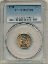 1901 INDIAN HEAD CENT-BEAUTIFUL CENT-PCGS GRADED MS63RB! SHIPS FREE! - $73.95