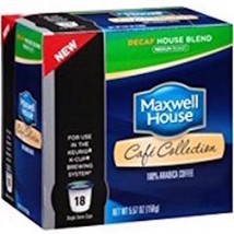 MAXWELL HOUSE CAFE COLLECTIONS DECAF HOUSE BLEND KCUPS 18CT - $17.71