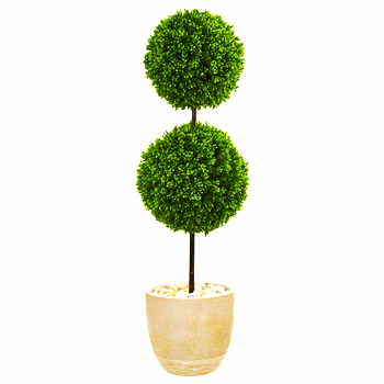 4' Boxwood Double Ball Topiary Artifical Tree in Oval Planter UV Resistant (Indo
