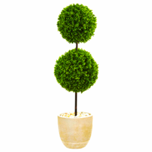 4' Boxwood Double Ball Topiary Artifical Tree in Oval Planter UV Resistant (Indo - $224.86