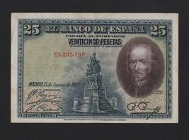 SPAIN ESPAÑA ESPANA BANK NOTE year 1928 - 25 pesetas - $9.99