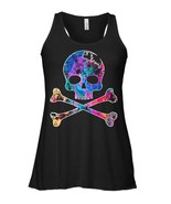 Death Skull and Crossbones Jolly Roger Military Flowy Racerback Tank - $26.95+