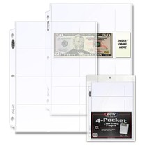 1 Pack of 20 Bcw 4 Pocket Currency Page - $7.31