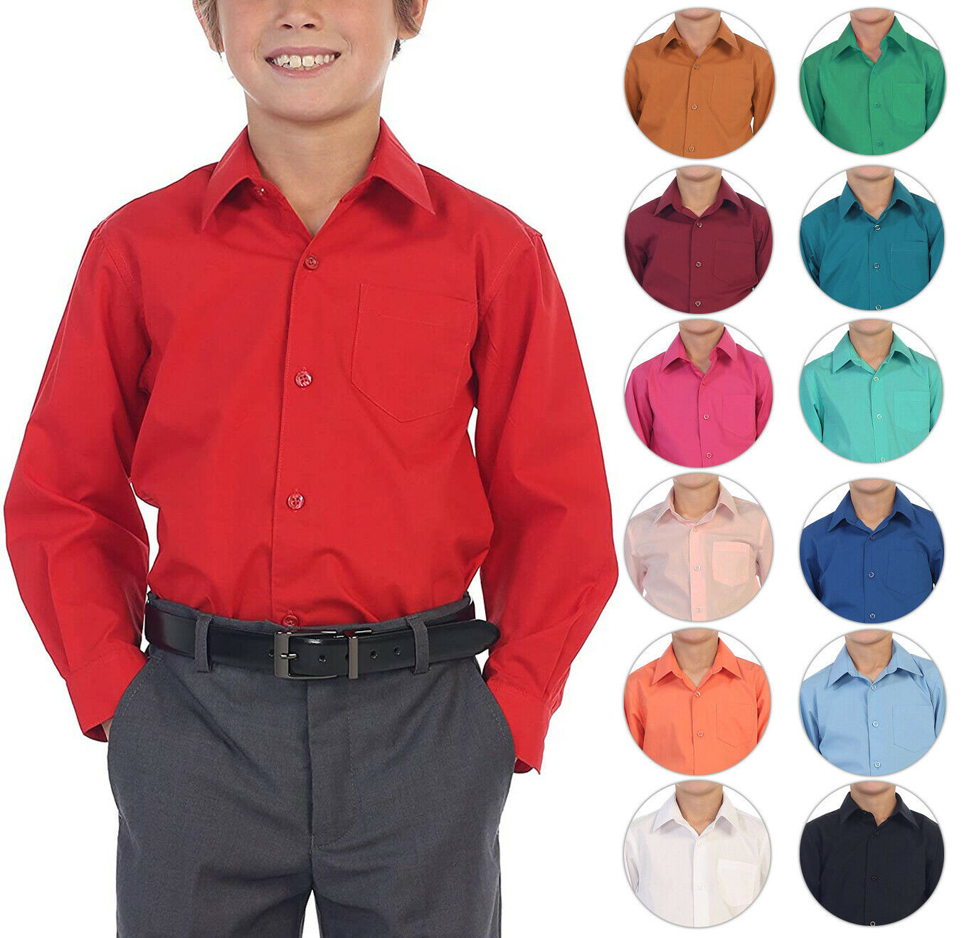 Boy's Classic Fit Long Sleeve Casual Button Down Toddler Kids Dress Shirt