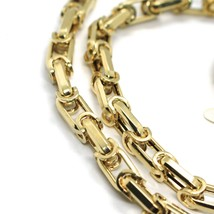 18K YELLOW GOLD CHAIN BIG ALTERNATE OVALS 7 MM 20 INCHES, SQUARED NECKLACE SHOWY image 2