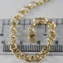 SOLID 18K YELLOW GOLD CHAIN 15.75 IN, ROUND CIRCLE ROLO LINK, 4 MM MADE IN ITALY image 2