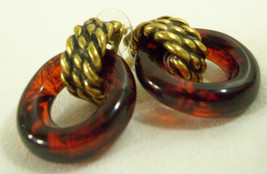 Vintage Chico's Faux Tortoise Hoop Antiqued Gold Plate Pierced Earrings ... - $18.76