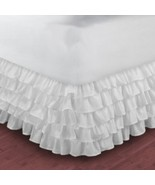 Queen Size WHITE Chiffon Multi Layered Ruffled Bed Skirt in any drop - $84.99+