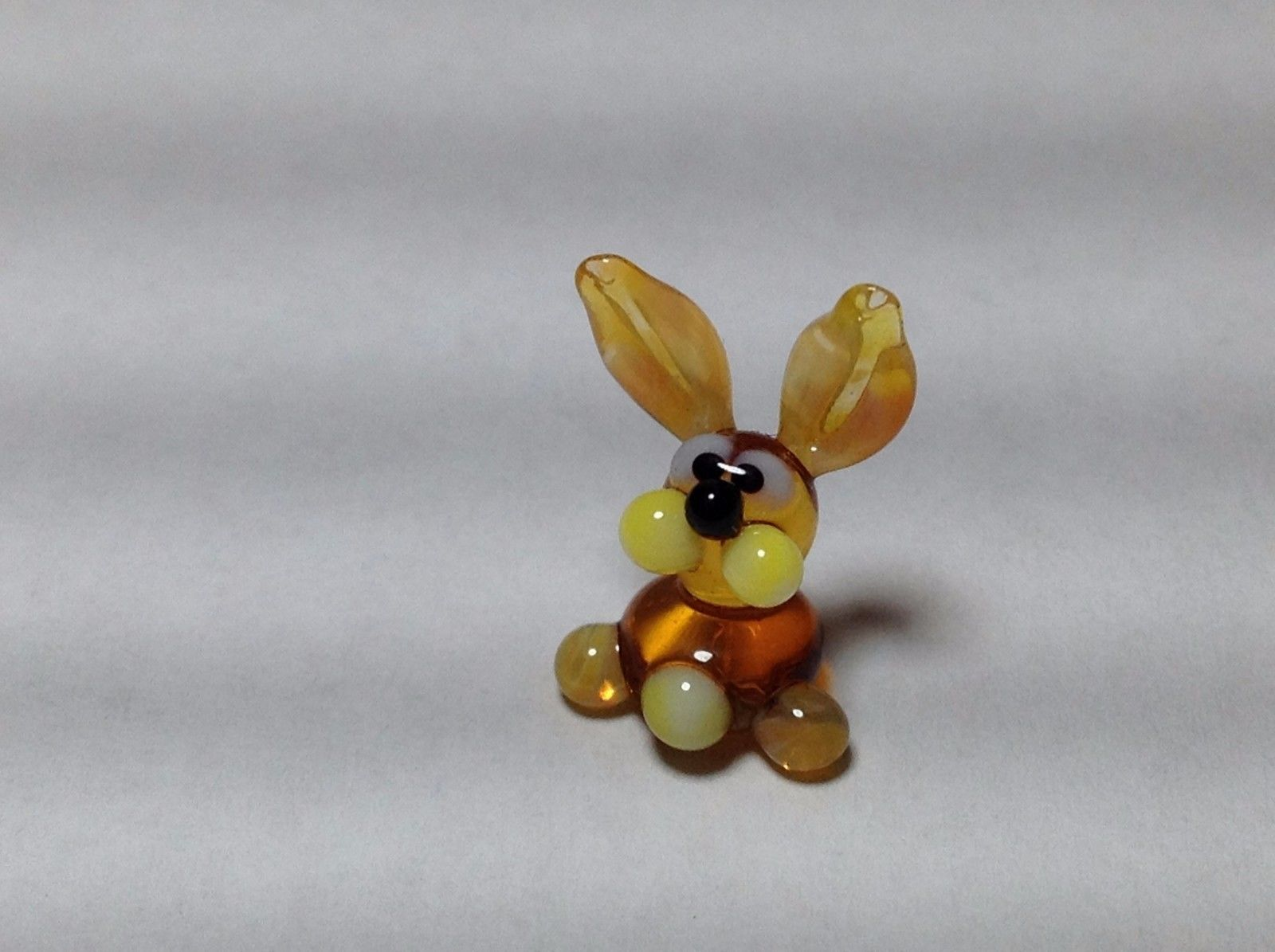 Miniature Glass golden bunny rabbit Handmade Blown Glass Made USA