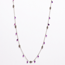 Amethyst Drops Necklace with Silver Beads - $55.20