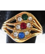 Vintage 1992 AVON Sparkling Wave RING Multi Color & Clear Rhinestones - $9.90