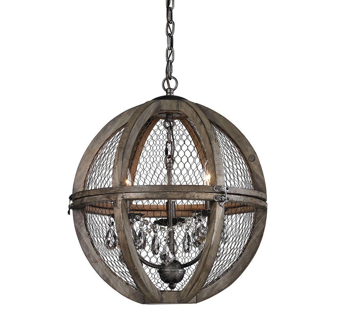 Orb Chandelier French Farmhouse Crystals Restoration Wood & Wire Globe $678 - $478.27