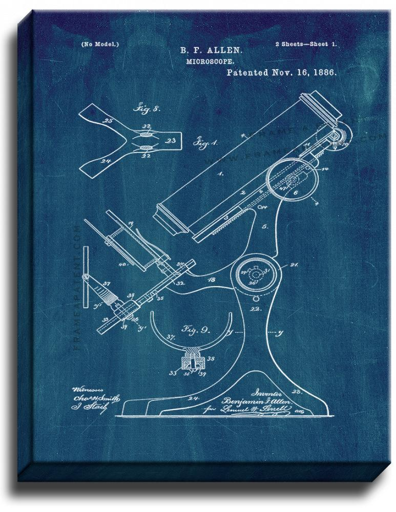 Primary image for Microscope Patent Print Midnight Blue on Canvas