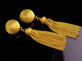 Vintage Napier earrings - LONG Tassels - gold pierced set - couture earr... - $165.00