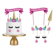 Cake Topper Pink Unicorn Handmade Wedding Happy Birthday Baby Party Deco... - $2.75