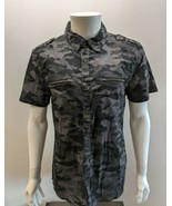 G by GUESS Men's A996 Jet Black & Gray Camo Tactical Tee Button Front Size Large - $24.18