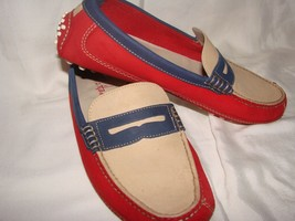 Vintage MENS COLE HAAN AIR GRANT RED BLUE  LEATHER PENNY LOAFERS w/Nke Air - $59.61