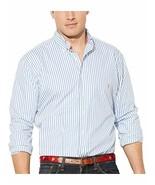 Ralph Lauren Sz 4XB Big and Tall Classic Fit Striped Poplin Shirt Blue W... - $49.44