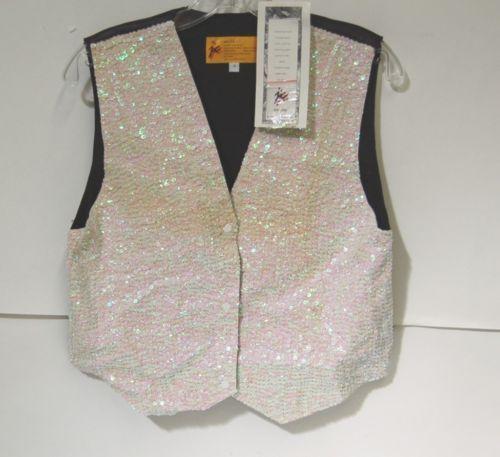 JC 001 USA Small Opal White Black Sequined Vest VST01