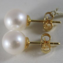SOLID 18K YELLOW GOLD EARRINGS WITH PEARL PEARLS 9 MM, MADE IN ITALY image 2