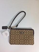 New Coach Wristlet Signature Slim Corner Zip  Wallet  Bag 52574 Brown W12 - $38.69