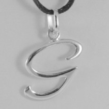 Pendant White Gold 18K With Initial G Letter G Glossy 2,5 Cm With Cord - $69.80