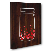 Mason Jar Full Of Hearts Canvas Wall Art - $29.21