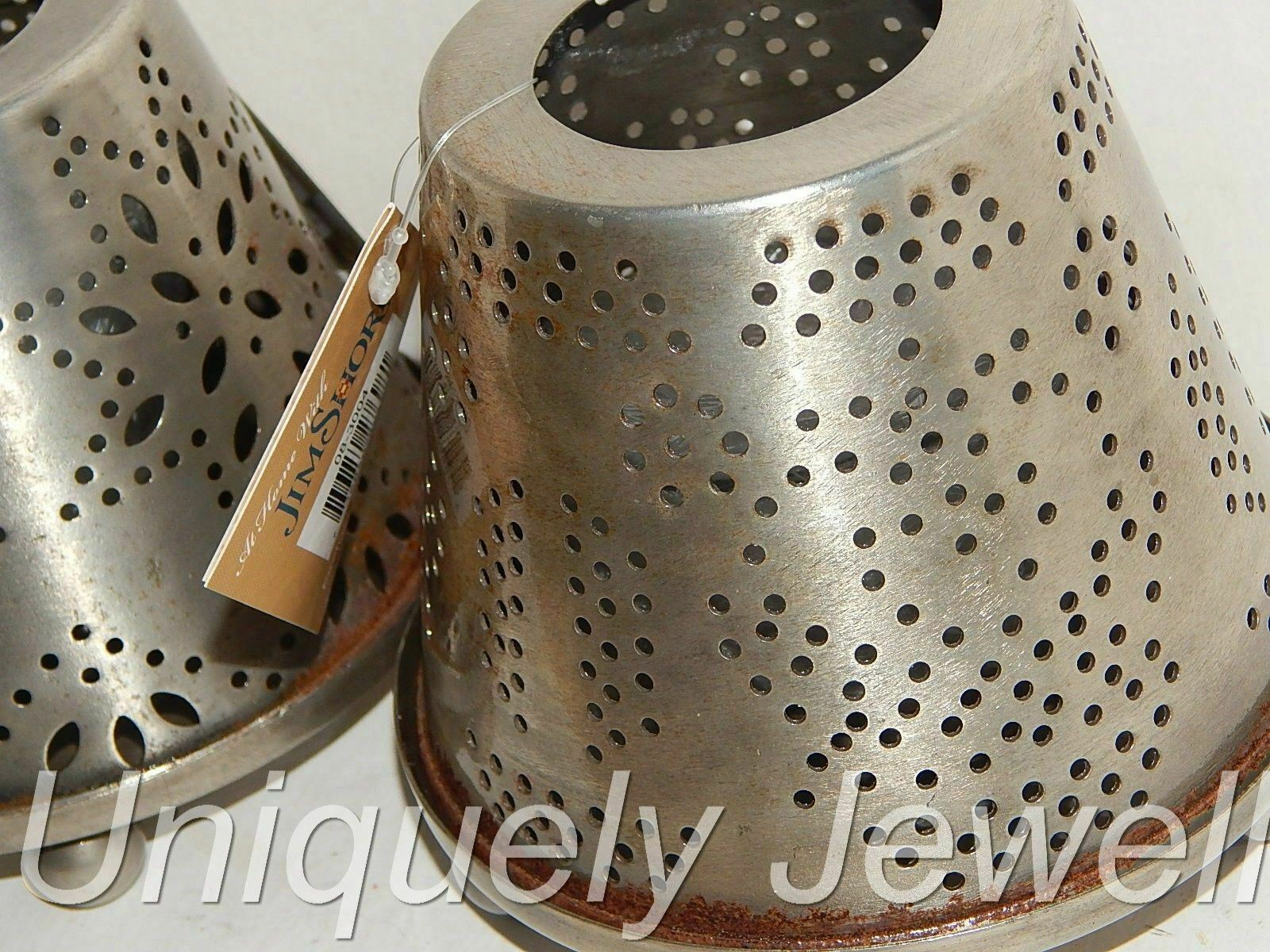 Jim Shore Distressed Metal 3 PC Votive Candle Holders Punched Tin Look (2)