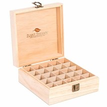 Plant Therapy Essential Oil Storage Box Case | Wooden Organizer Holds 25 Bottles