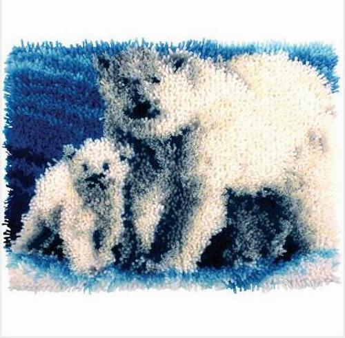 "Teddy Bear Latch Hook Rug Kit Wonderart  Spinrite Wall Hanging 12/""X12/"""