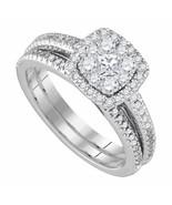 14k White Gold Halo Diamond Bridal Wedding Engagement Ring Band Set  .79... - $667.51