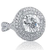 4.22 TCW Round Diamond Engagement Halo Infinity Ring 18k White Gold - $11,601.81