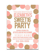 Big Dots Sweet Sixteen 16 Birthday Party Invitations - $25.25