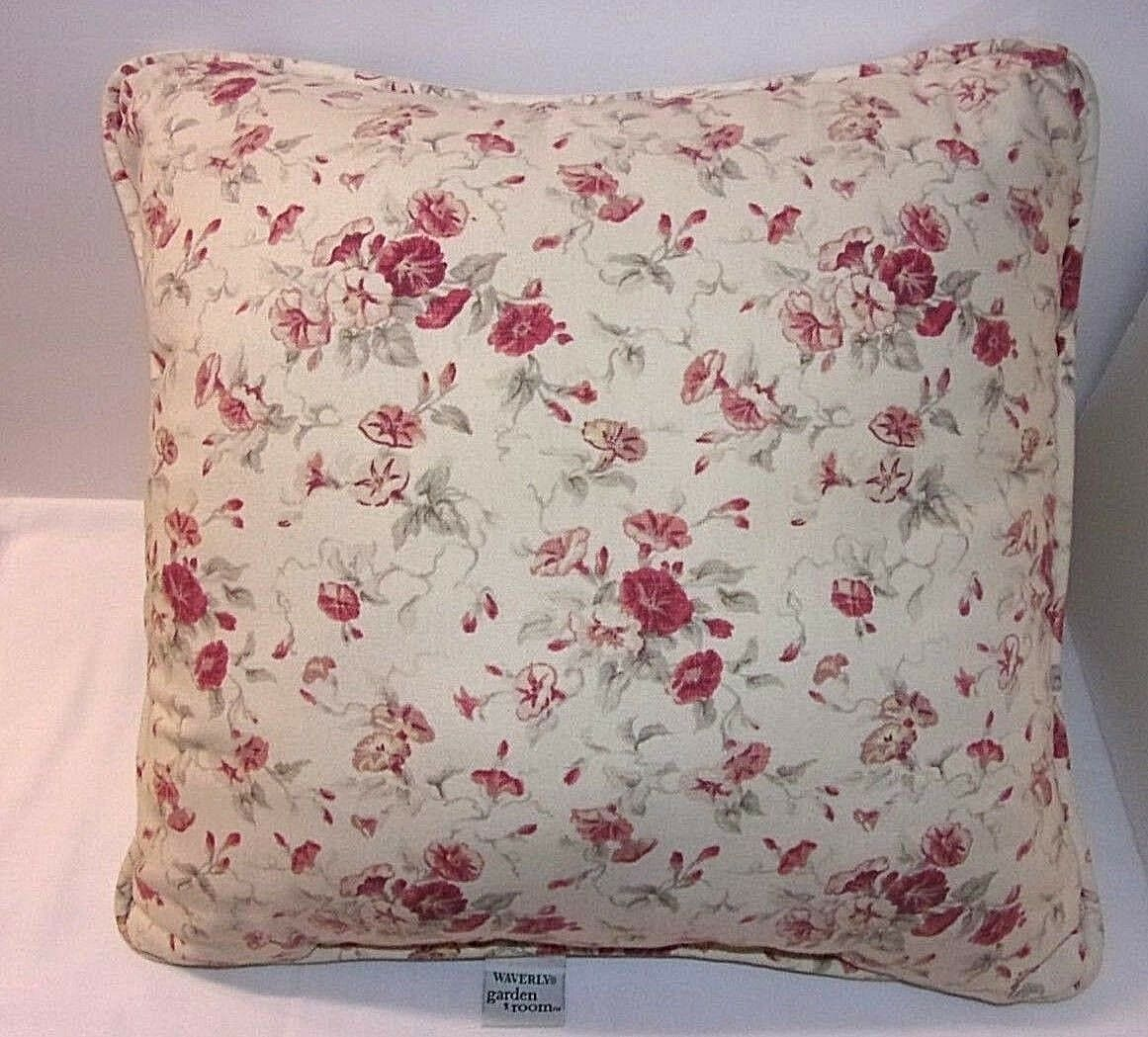 "Morning Glory Waverly Garden Room Pillow Red Floral Throw Flowers 15"" Square EUC - $21.73"