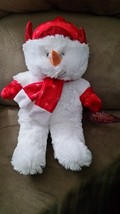 "Snowman Red Hat Scarf Gloves Brand New Plush Stuffed Animal Tags 14"" Sugar Loaf - $7.99"